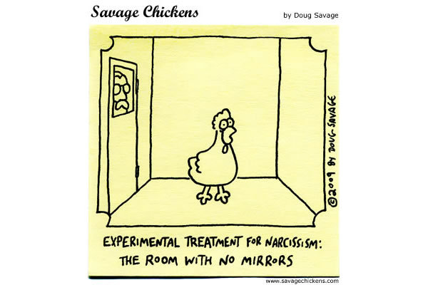 Experimental treatment for narcissism: The room with no mirrors.
