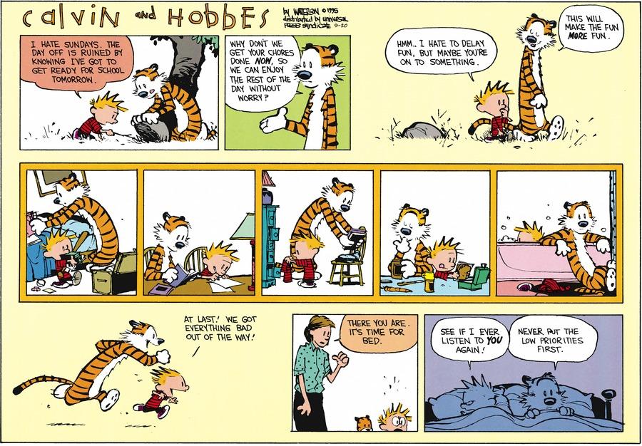 Calvin and Hobbes Comic Strip for September 20, 2015