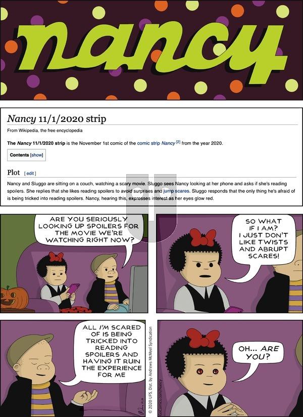 Nancy - Sunday November 1, 2020 Comic Strip