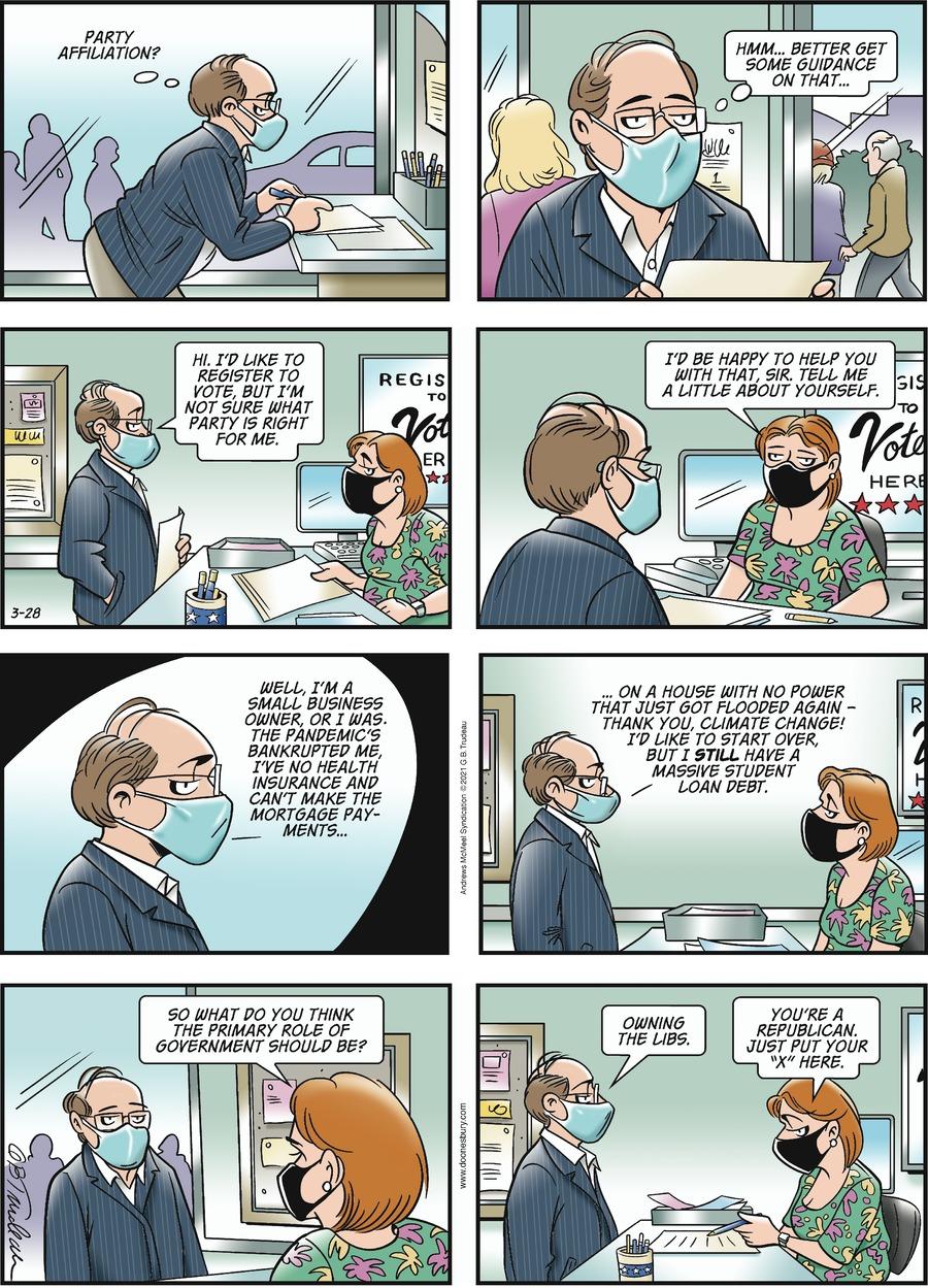 Doonesbury Comic Strip for March 28, 2021