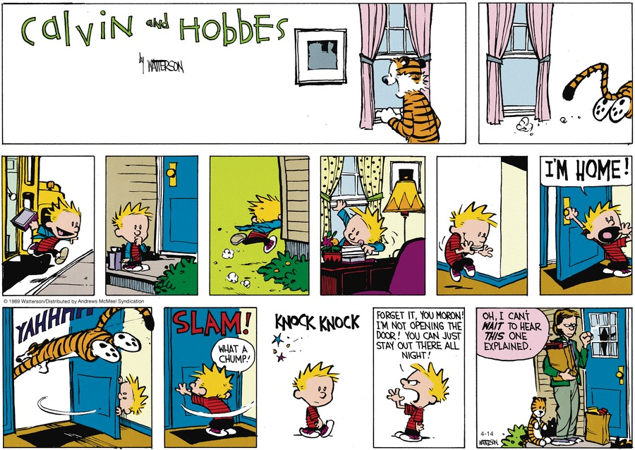 Calvin and Hobbes by Bill Watterson for April 14, 2019