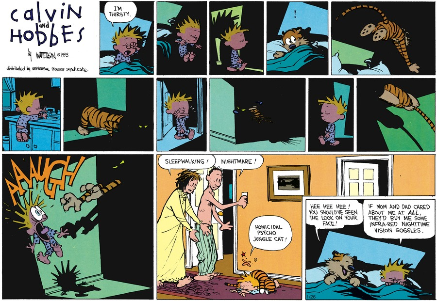 Calvin: I'm thirsty.  Aaaaugh!  Mom: Sleepwalking! Dad: Nightmare! Calvin: Homicidal psycho jungle cat! Hobbes: Hee hee hee! You should've seen the look on your face!  Calvin: If Mom and Dad cared about me at all, they'd buy me some infra-red nighttime vision goggles.