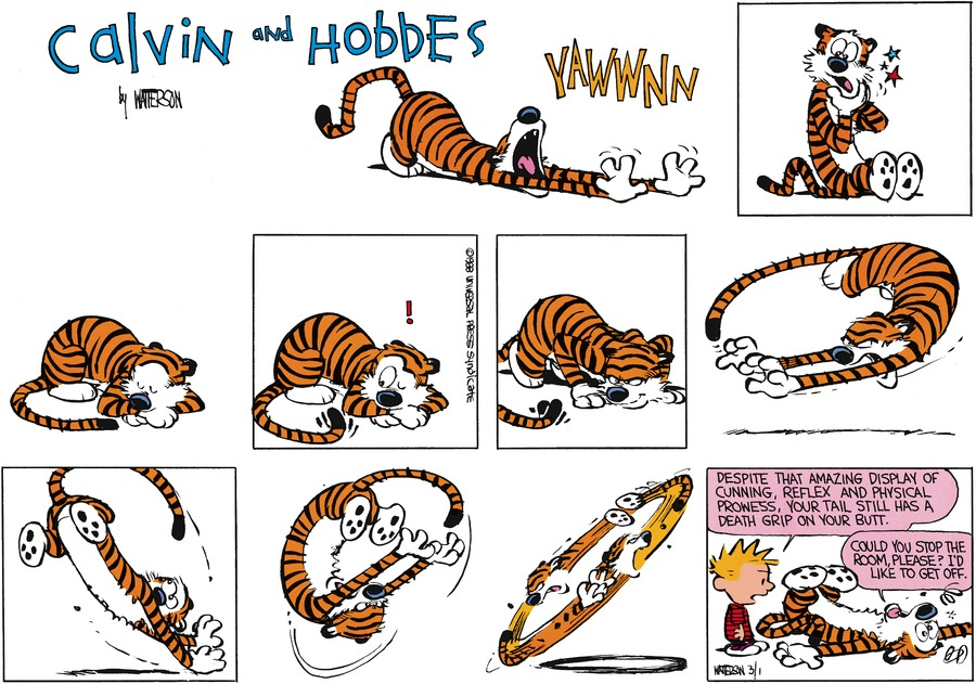 Calvin and Hobbes Comic Strip for April 10, 1988