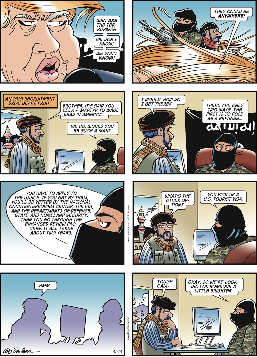 Doonesbury comic strip about Jihadis entering the USA as a refugee