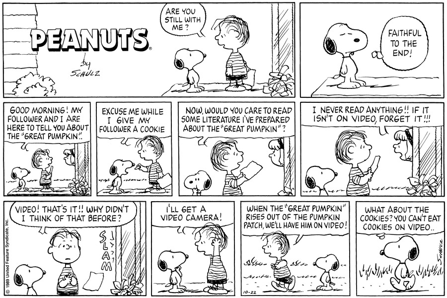 Peanuts Comic Strip for October 22, 1989