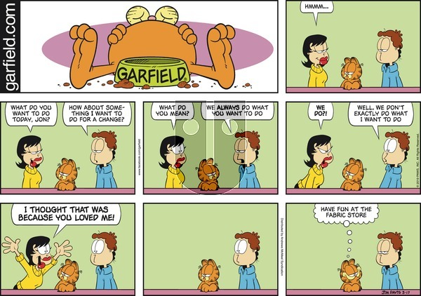 Garfield on Sunday March 17, 2019 Comic Strip