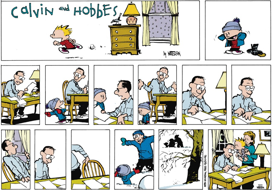 Calvin and Hobbes Comic Strip for January 14, 1990