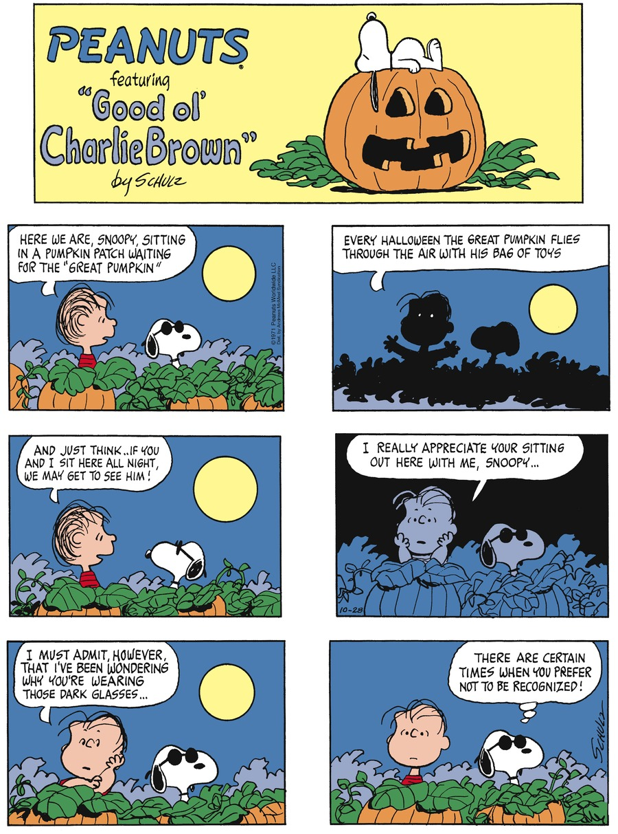 Peanuts by Charles Schulz for October 28, 2018