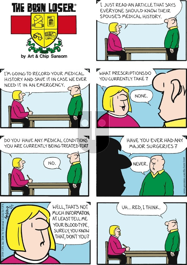The Born Loser on Sunday February 7, 2016 Comic Strip