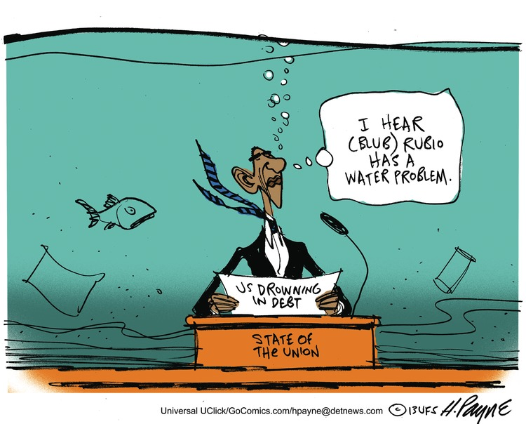 I hear (blub) Rubio has a water problem.  US drowning in debt  State of the union