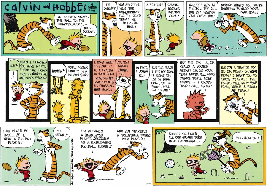 "Hobbes: ""The center snaps the ball back to the quarterback!""