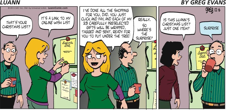 Luann Comic Strip for December 06, 2015