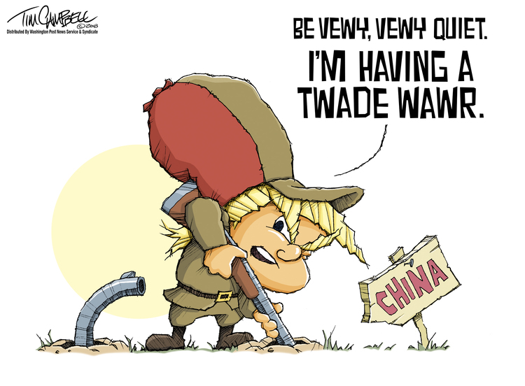 Image of Donald Trump as Elmer Fudd thrusting his rifle into a rabbit hole labeled