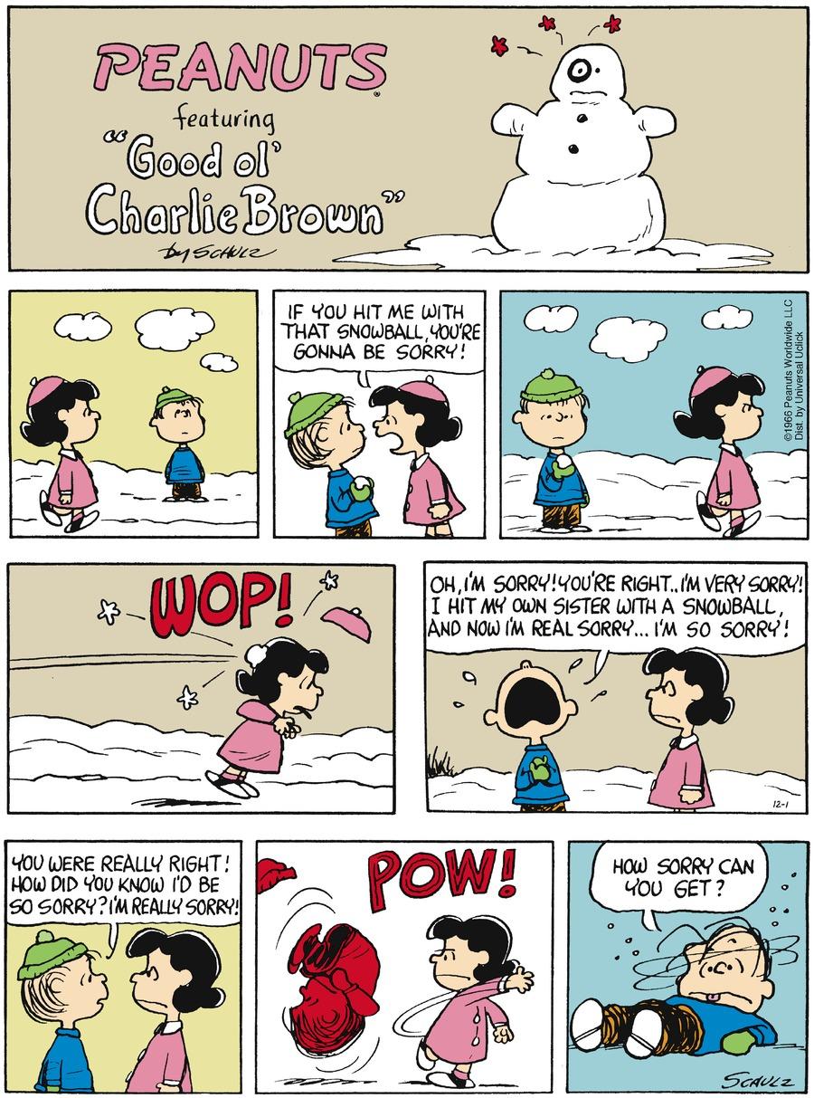 Peanuts for Dec 1, 2013 Comic Strip