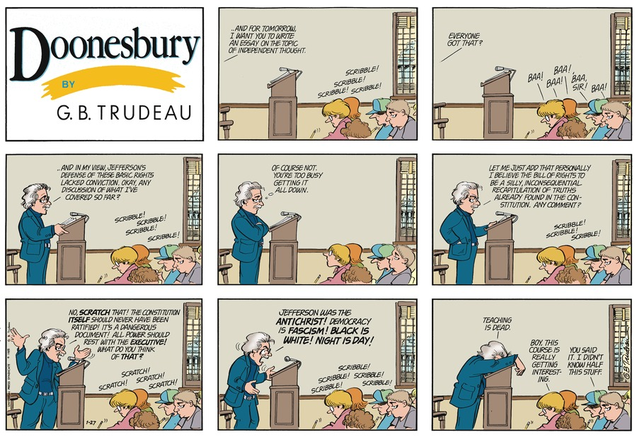 Doonesbury Comic Strip for January 27, 1985