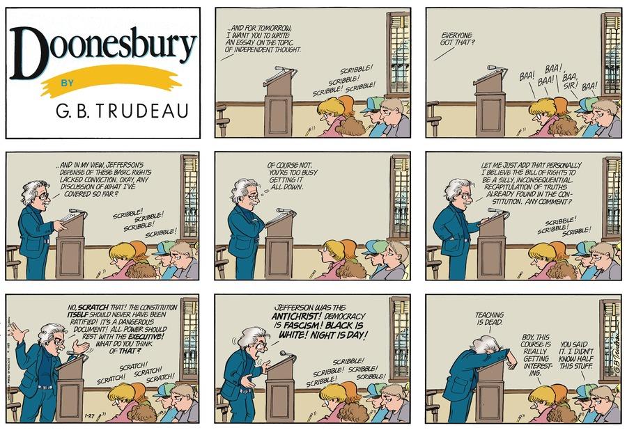 Doonesbury Comic Strip for January 27, 1985