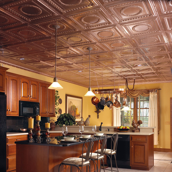 This copper-topped ceiling warms the kitchen. Armstrong's Metallaire Wreath Drop copper-plated tiles are installed on a grid attached to the ceiling and can cost as much as $9.50 per square foot.
