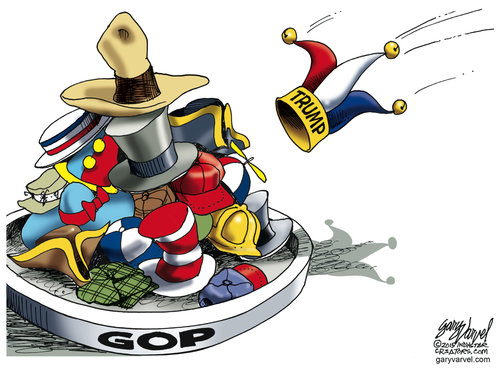 Donald Trump throws his clown hat into the ring with all the other GOP clown hats.