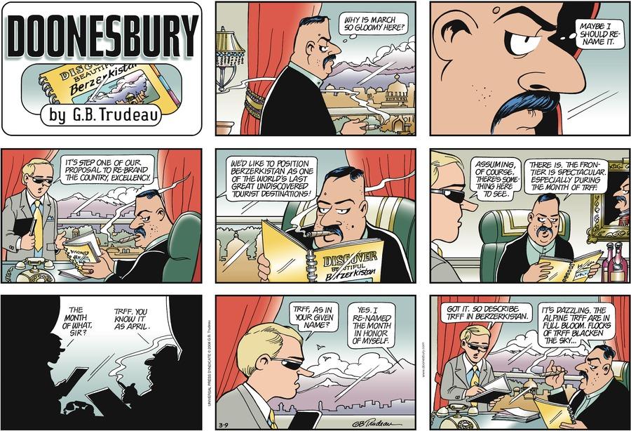Doonesbury Comic Strip for March 09, 2008