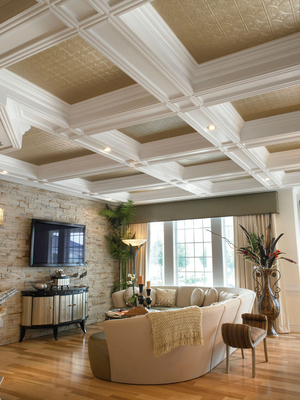 Armstrong's circular tile ceiling design combines both the refined and rustic in this home's family room. Tiles have been installed within exposed beams, which hold light fixtures.