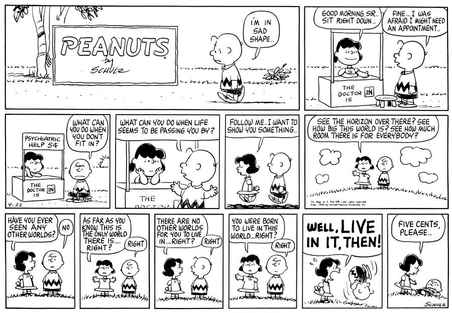Peanuts Comic Strip for September 22, 1963