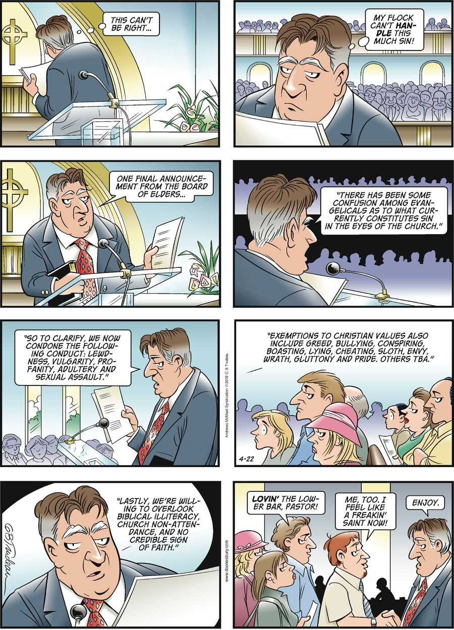 Doonesbury Comic Strip for April 22, 2018