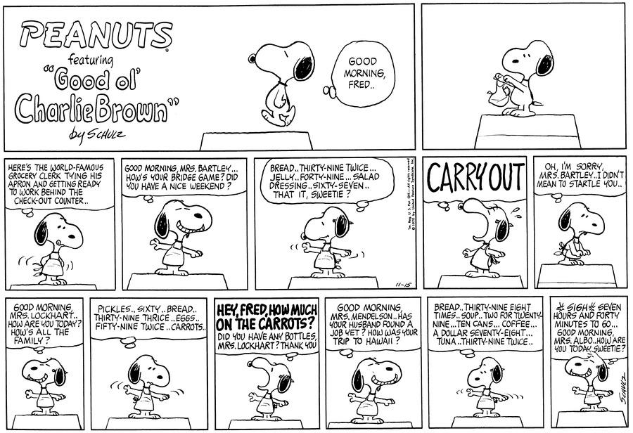 Peanuts Comic Strip for November 15, 1970