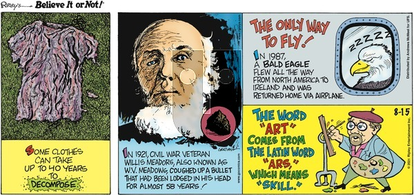 Ripley's Believe It or Not on Sunday August 15, 2021 Comic Strip