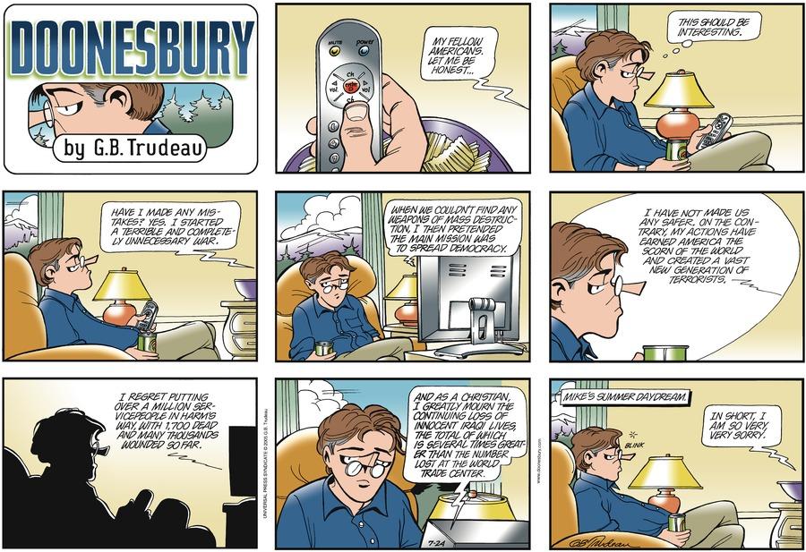 Doonesbury Comic Strip for July 24, 2005
