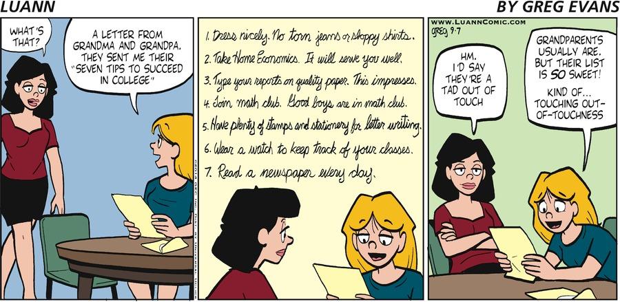 Luann Comic Strip for September 07, 2014