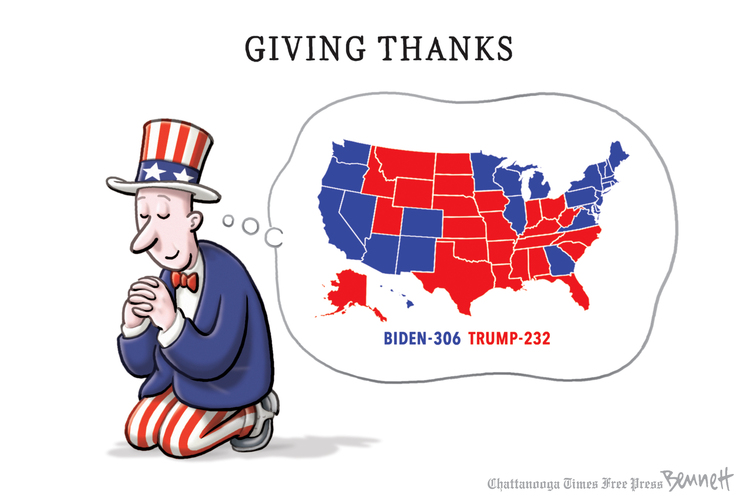 Title:  Giving Thanks.  Image:  Uncle Sam, on his knees, thinking 'Biden 306, Trump 232.'