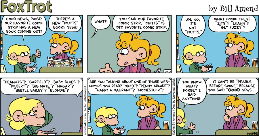 FoxTrot Comic Strip for March 20, 2016