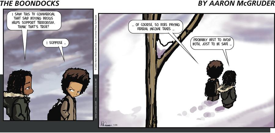 The Boondocks Comic Strip for January 26, 2003