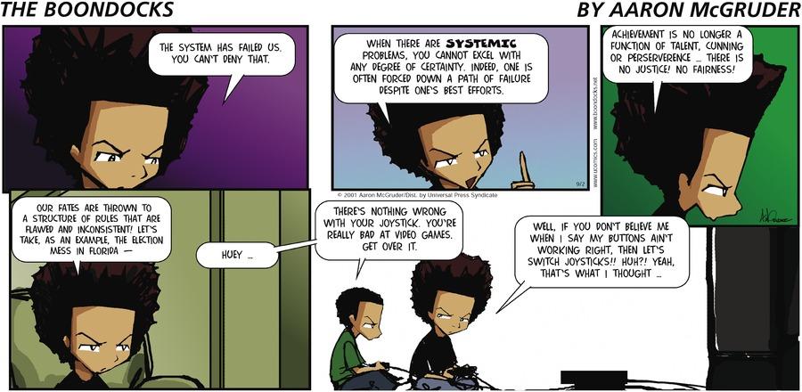 The Boondocks Comic Strip for September 02, 2001