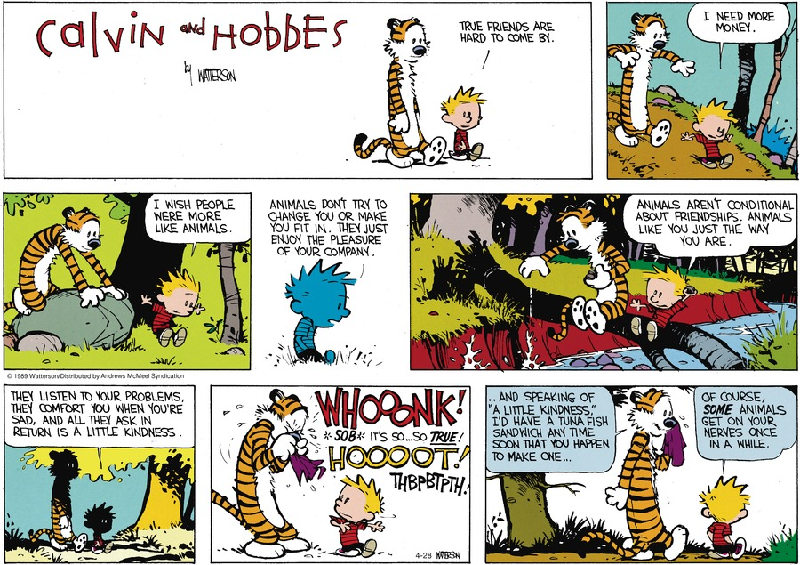 Calvin and Hobbes by Bill Watterson for April 28, 2019