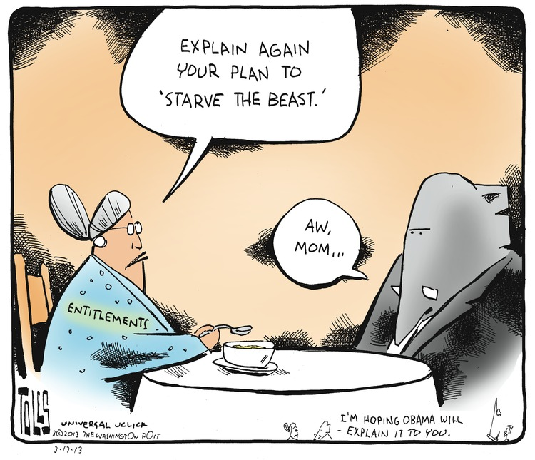 "Entitlements: Explain again your plan to ""starve the beast."" Elephant: Aw, mom..."