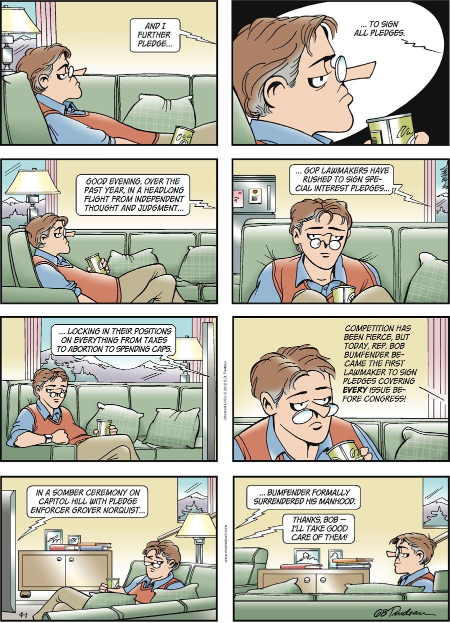 Doonesbury Comic Strip for April 01, 2012