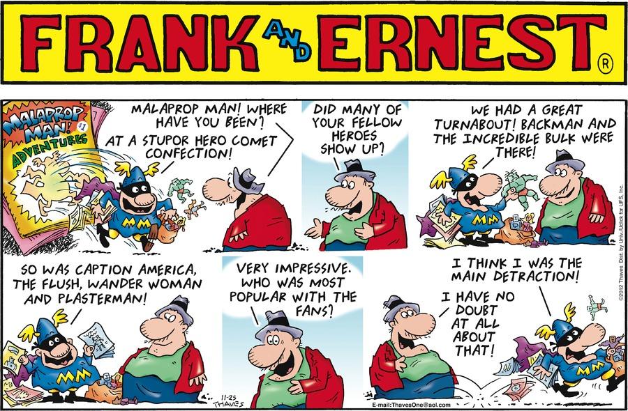 Frank and Ernest Comic Strip for November 25, 2012