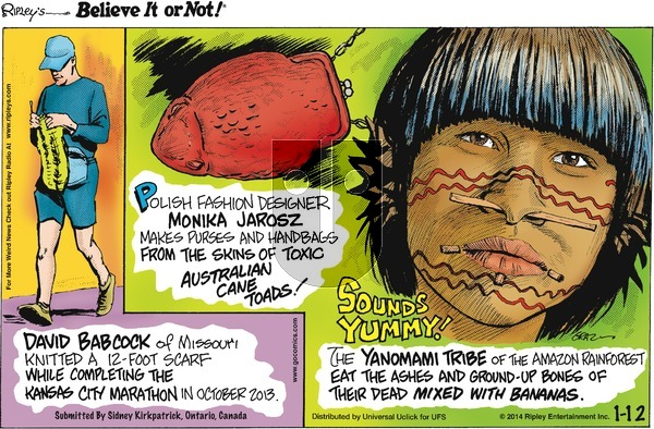 Ripley's Believe It or Not on Sunday January 12, 2014 Comic Strip