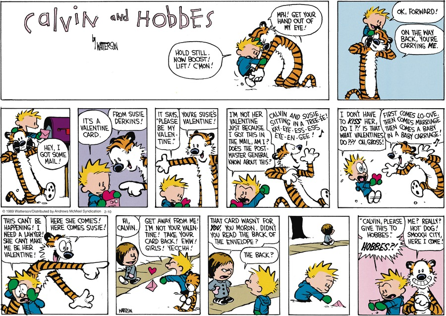 Calvin and Hobbes by Bill Watterson for February 10, 2019