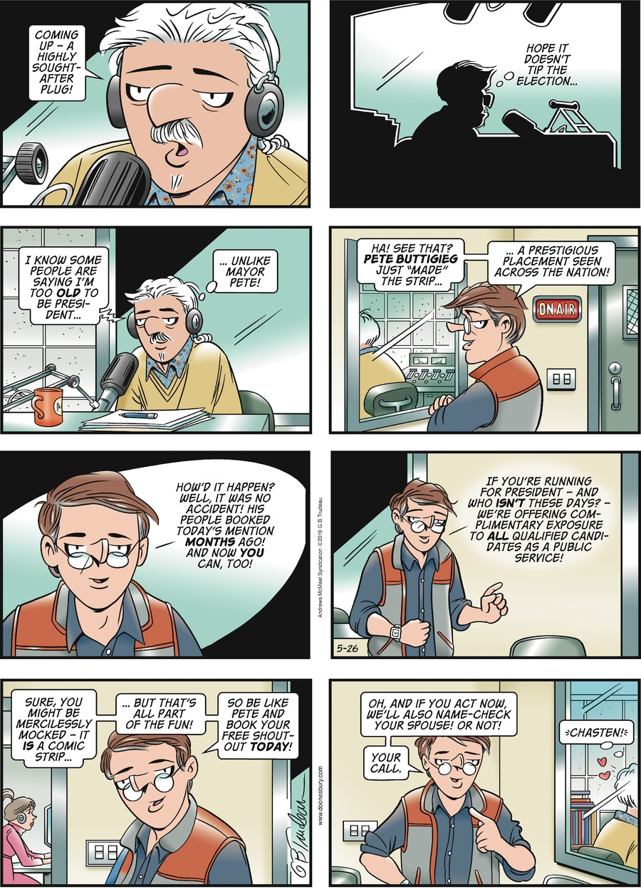 Doonesbury by Garry Trudeau for May 26, 2019
