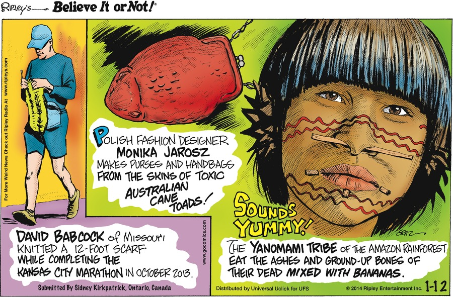 Ripley's Believe It or Not Comic Strip for January 12, 2014