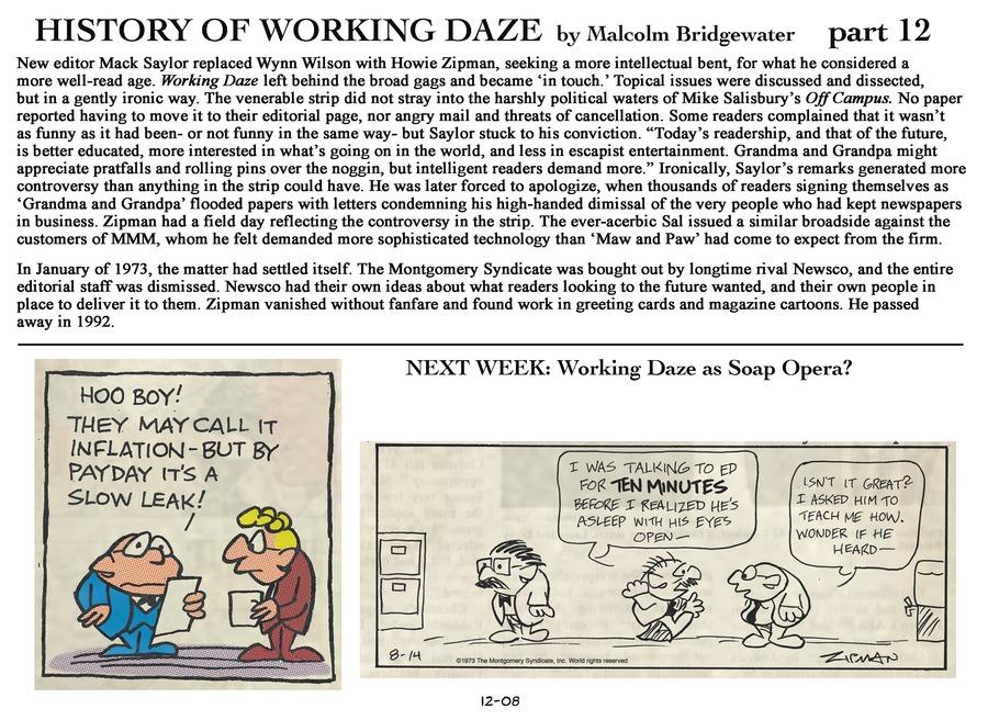 Working Daze Comic Strip for December 08, 2013