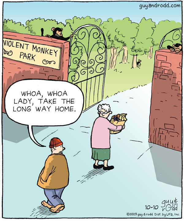 "Man says, ""Whoa, whoa lady, take the long way home."" Violent monkey park"