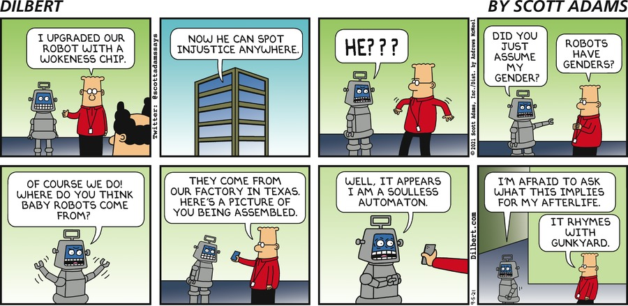 Robot Becomes Woke  - Dilbert by Scott Adams