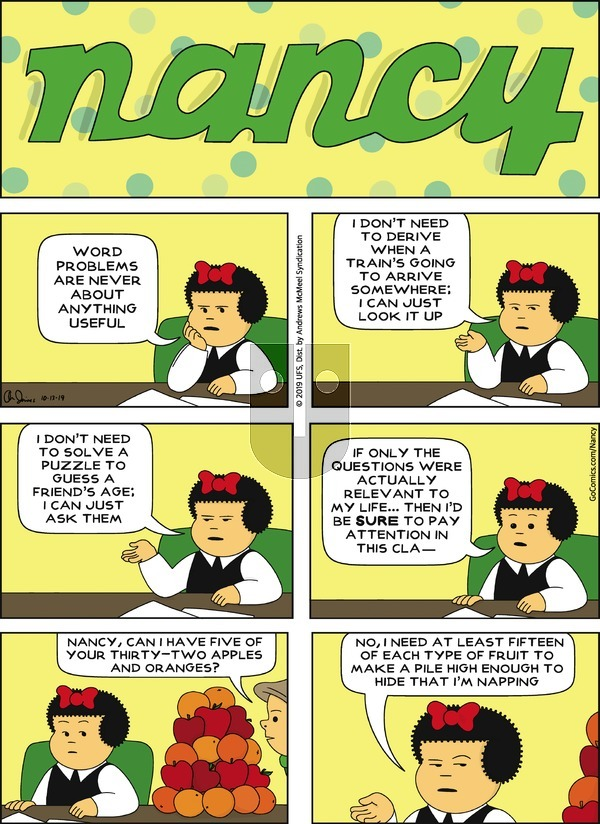 Nancy on Sunday October 13, 2019 Comic Strip