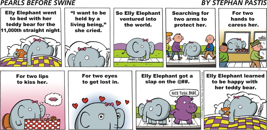 Elly Elephant went to bed with her teddy bear for the 11,000th straight night. 