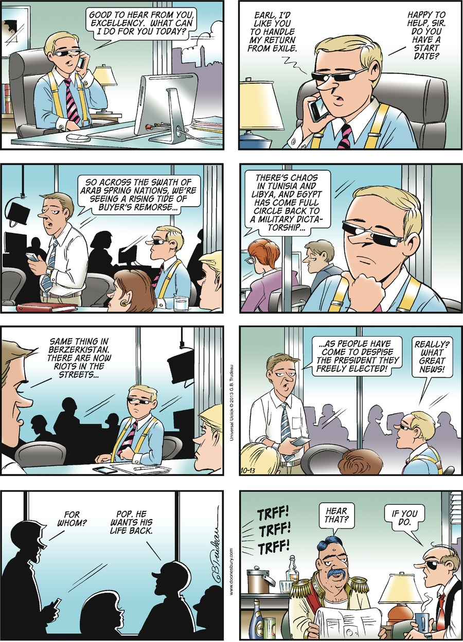 Doonesbury Comic Strip for October 13, 2013