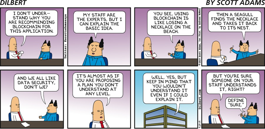 Boss Recommends Blockchain - Dilbert by Scott Adams