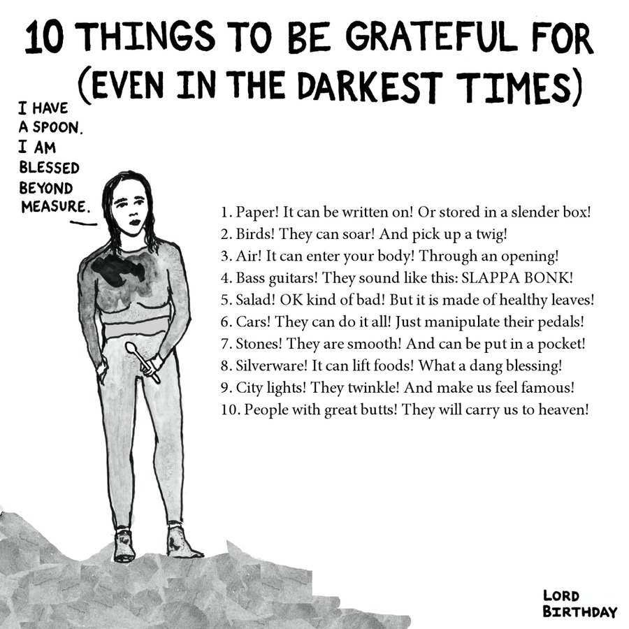 10 things to be grateful for (even in the darkest times)  I have a spoon. I am blessed beyond measure. 1. Paper! It can be written on! or stored in a slender box! 2. birds! they can soar! and pick up a twig! 3. air! it can enter your body! through an opening! 4. bass guitars! they sound like this: slappa bonk! 5. salad! ok kind of bad! but it is made of healthy leaves! 6. cars! they can do it all! just manipulate their pedals! 7. stones! they are smooth! and can be put in a pocket! 8. silverware! it can lift foods! what a dang blessing! 9. city lights! they twinkle! and make us feel famous! 10. people with great butts! they will carry us to heaven!